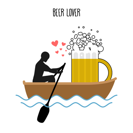 rendezvous: Beer lover. Man and beer mugs and ride in boat. Lovers of sailing. Man rolls meal on gondola. Rendezvous with a drink in boat on  pond. Romantic illustration alcohol