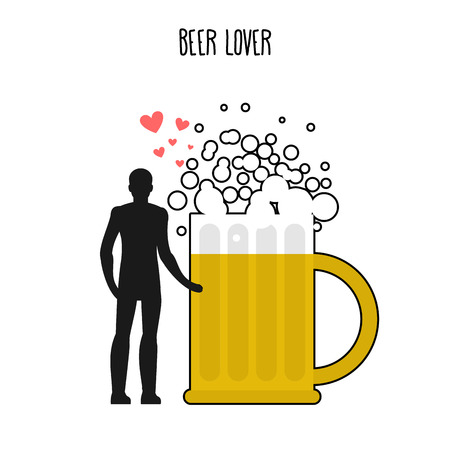 Lover beer. Infatuated with foamy drink. Man and beer mug. Lovers holding hands. Romantic illustration alcohol