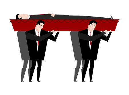 mortician: Funeral. Men carry coffin with dead. Red wooden coffin with corpse. Grief illustration