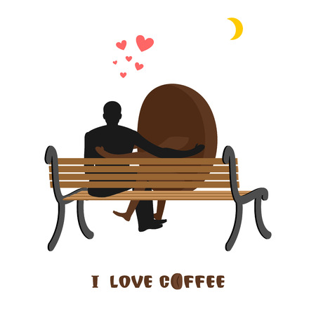 date night: coffee lovers. Coffee beans and man looking at moon. Date night. Lovers sit on bench. Month in night dark sky. Romantic illustration food