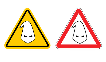 racial: Warning sign of racism. Hazard Yellow Sign race discrimination. White cap in red triangle. Set of road signs Illustration