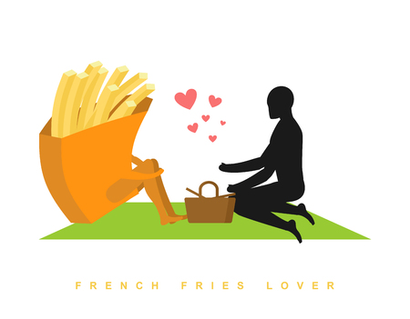 rendezvous: lover french fries. Fast food at picnic. Rendezvous in Park. Fastfood and people. Rural jaunt in love with  eating. Meal in nature. Plaid and basket for feed on lawn. Romantic meal illustration Illustration