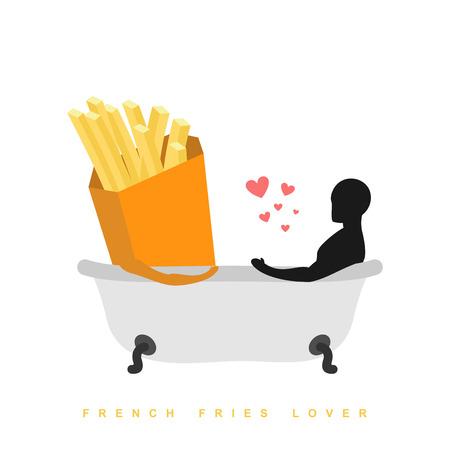 pareja comiendo: Amante de las patatas fritas. Me encanta la comida. Comida rápida y el hombre en el baño. El hombre y la comida está tomando el baño. baño conjunta. sentimientos pasión entre los amantes. Ilustración romántica undershot