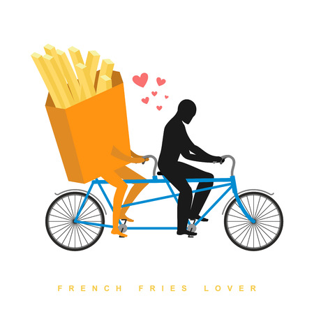romantic date: Lover french fries. Food on  bicycle. Lovers of cycling. Man rolls fastfood on tandem. Joint walk with meal. Romantic date. Romantic illustration undershot