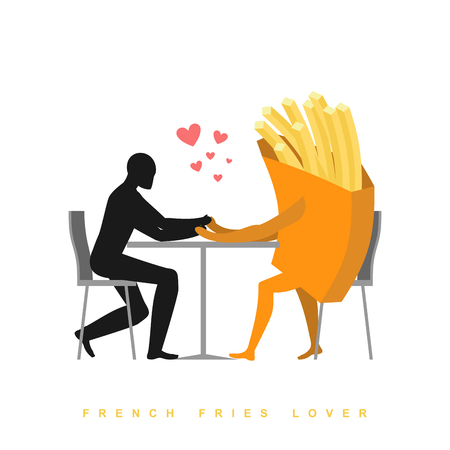romantic date: Lover french fries in cafe. Man and fast food sitting at table. food in restaurant. Romantic date in public place. Romantic illustration meat
