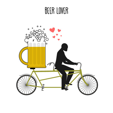 Beer lover. Beer mug on bicycle. Lovers of cycling tandem. Romantic date. Romantic illustration alcohol Stock Illustratie