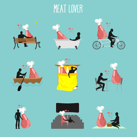 theater man: Meat lovers set. Love to collection of ham. Man and ham in movie theater. Lovers in bath. Romantic rendezvous with beef. Boating pork tandem. Breakfast in cafe. Picnic in park