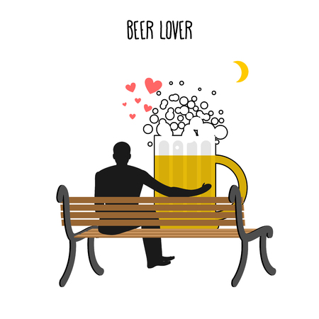 date night: Beer lover. Beer mug and watch people on moon. Date night. Lovers sit on bench. Month in  night dark sky. Romantic illustration alcohol