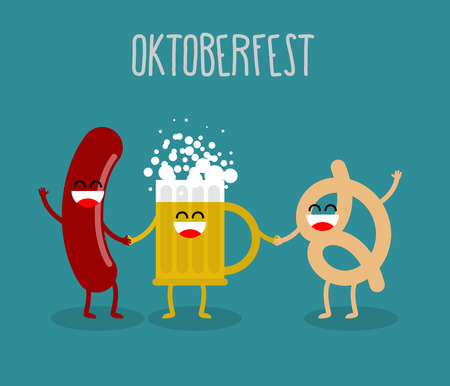 oktoberfest food: Beer, sausage and pretzel friends. Oktoberfest food. Holiday in Germany. Cute, funny and alcohol appetizer