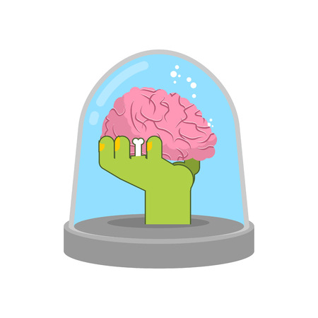 glass dome: Zombie hand in glass bell. Laboratory research. Green living dead. Study research artifact Illustration