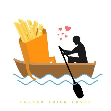 Amante de las patatas fritas. El hombre y de la comida rápida y el paseo en barco. Los amantes de la vela. El hombre rollos de comida en góndola. Nombramiento de los alimentos en bote en el estanque. Ilustración romántica comida Foto de archivo - 61853897