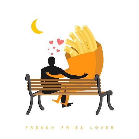 Amante de las patatas fritas. Comida rápida y la gente está mirando la luna. Noche de cita. Hombre y una comida sentado en el banco. Mes en el cielo oscuro. Ilustración romántica comida