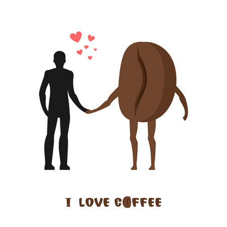 infatuated: coffee lovers. Infatuated with fragrant drink. Man and coffee beans. Lovers holding hands. Romantic illustration food