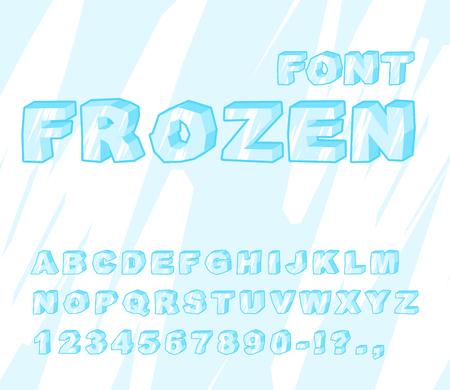 ice alphabet: Frozen font. Ice alphabet. Transparent ABC. Cold blue letters
