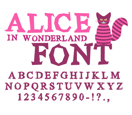 hatter: Alice in Wonderland font. Fairy ABC. mad Alphabet  Cheshire Cat. Set of letters. Magical beast with long striped tail