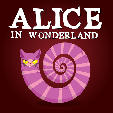 film title: Alice in Wonderland title. Cheshire Cat. Fantastic animal. Fabulous striped animal with long tail