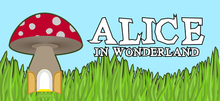 Alice in Wonderland lettering on green grass and mushroom. Mad font Illustration