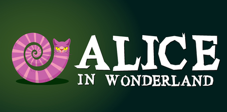 Alice in Wonderland title. Cheshire Cat. Fantastic animal. Fabulous striped animal with long tail