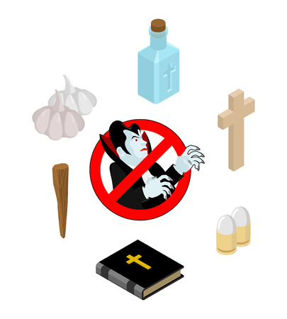 Stop Dracula. Set of tools for extermination of vampires: holy water and bible. Cross and Aspen stake. Garlic and silver bullet