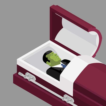 Zombi en el ataúd. hombre muerto verde que miente en el ataúd de madera. Cadáver en un ataúd abierto para el entierro. Fallecido con manchas de cadáver