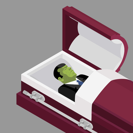 Zombie in coffin. Green dead man lying in wooden casket. Corpse in an open hearse for burial. Deceased with cadaveric spots