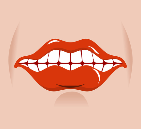 open mouth: Cheerful smile. Red lips and white teeth. Open mouth on his face