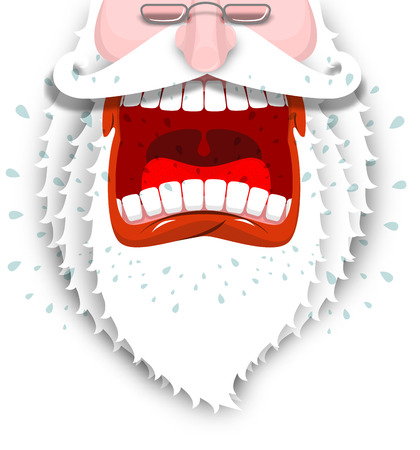 cursing: Furious Santa Claus. Anger Santa with big white beard. Cursing and swearing. Flying drooling. Scary bad grandfather. Illustration for Christmas and New Year Illustration
