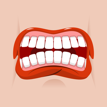 shout: Angry mouth. aggressive emotion. Straseni grin. White teeth and red lips. Unhappy shout Illustration