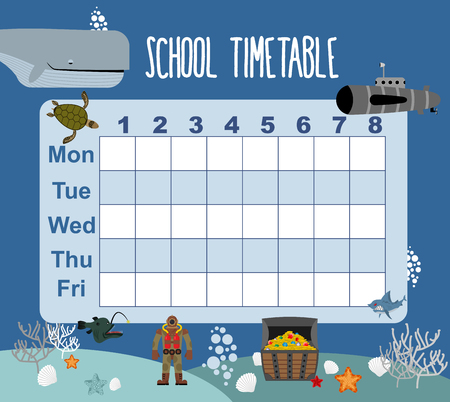 school schedule: timetable. School schedule on underwater world. Days of week. sked for students. Shark and whale. Diver and turtle. Submarine and corals