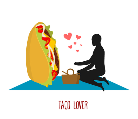 rendezvous: Taco lover. Mexican food at picnic. Rendezvous in Park. Fastfood and people. Rural jaunt in love with eating. Meal in nature. Plaid and basket for feed on lawn. Romantic meal illustration Illustration
