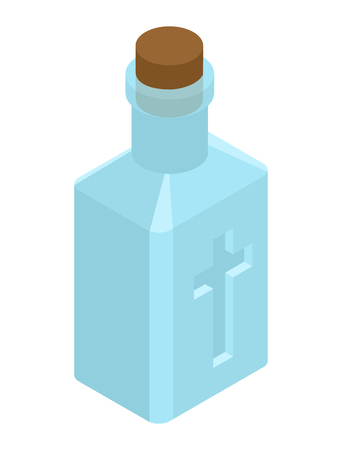 receptacle: Holy water in bottle. Religious symbol. Magic liquid Illustration
