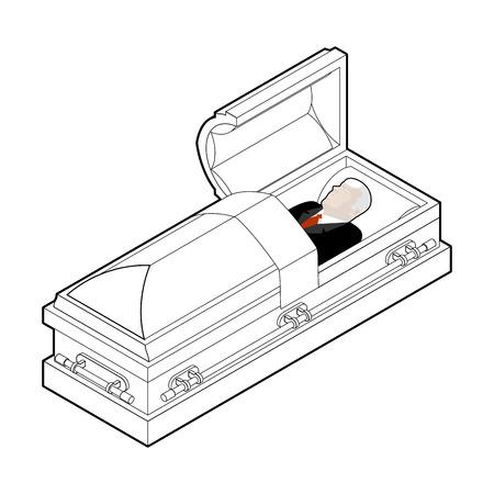 deceased: Deceased in coffin. Dead man lay in wooden casket. Corpse in an open hearse for burial