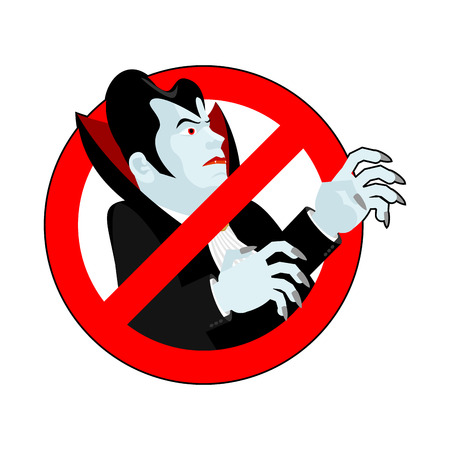 forbid: Stop vampire. It is forbidden to drink blood. Crossed-silhouette Dracula. Emblem against bloodsuckers. Red prohibition sign. Ban vampires