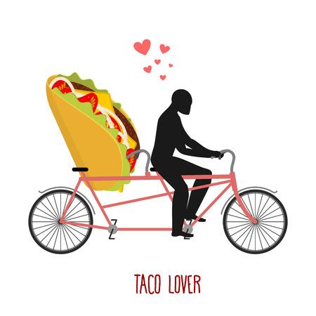 Amante del taco. comida mexicana en la bicicleta. Los amantes de la bicicleta. El hombre rollos de comida rápida en tándem. paseo conjunta con comida. fecha de descarga inferior romántica