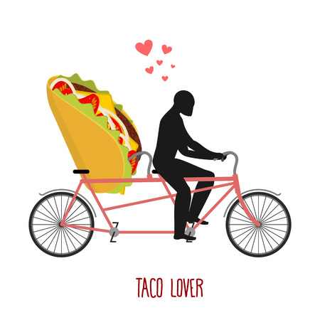 romantic date: Lover taco. Mexican food on bicycle. Lovers of cycling. Man rolls fast food on tandem. Joint walk with meal. Romantic date undershot Illustration