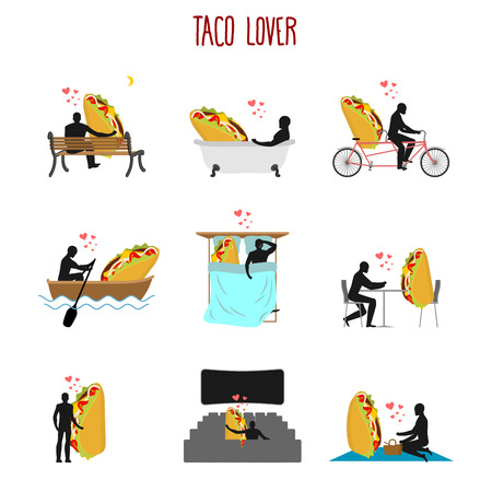 closeness: Lover taco set. Love to Mexican food collection. Man and fastfood in cinema. Lovers in bath. Romantic rendezvous with food. Boating feed. Joint walk. Cycling tandem. Breakfast in cafe. Picnic in park