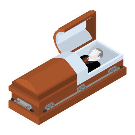 Difunto en el ataúd. hombre muerto yacía en el ataúd de madera. Cadáver en un ataúd abierto para el entierro
