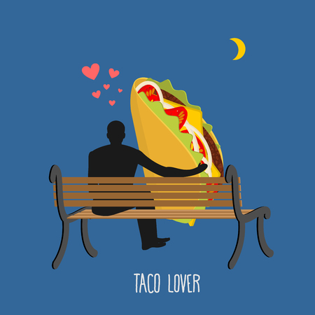 man on the moon: Lover taco. Mexican food and people are looking at moon. Date night. Man and meal sitting on bench. Month in night dark sky. Romantic illustration feed