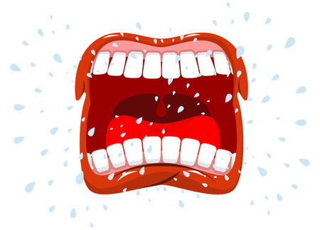 saliva: Yells. Man shouts. Violent emotion. Open your mouth and tongue. Flying saliva. Shout. Shrill scream. Swearing and bad language Illustration