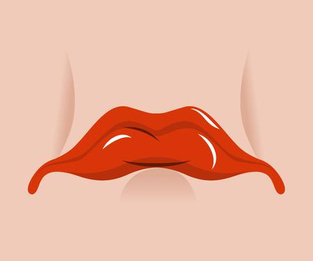 Sad mouth. Sorrowful red lips on white background. Tragic emotions