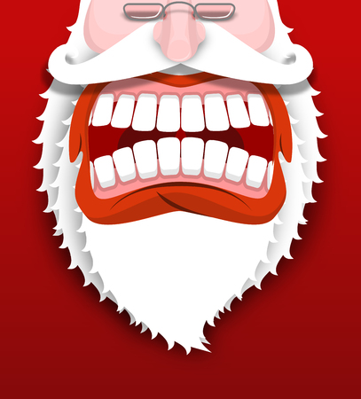 drooling: Aggressive Santa Claus shouts. Unhappy Santa with big white beard. Cursing and swearing. Flying drooling. Scary bad grandfather. Illustration for Christmas and New Year