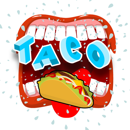 Taco acute Mexican food. Open your mouth and protruding tongue. Illustration