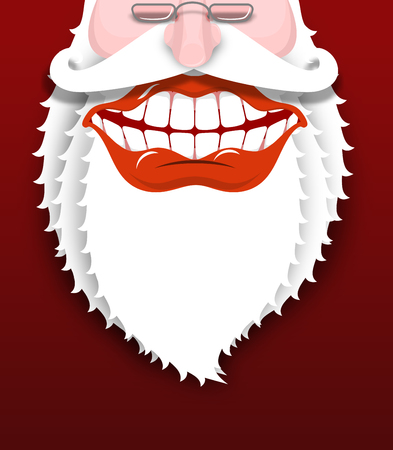 broad: Jolly Santa Claus. Joyful grandfather with white beard. Broad smile. Big red lips and white teeth. Illustration for Christmas and New Year
