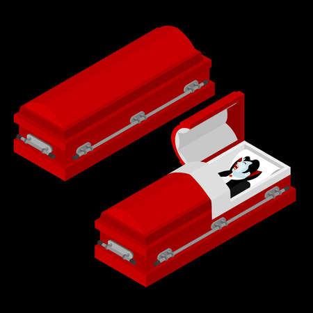 curse: Dracula in coffin. Vampire Count in an open hearse. Ghoul in casket. Retro monster