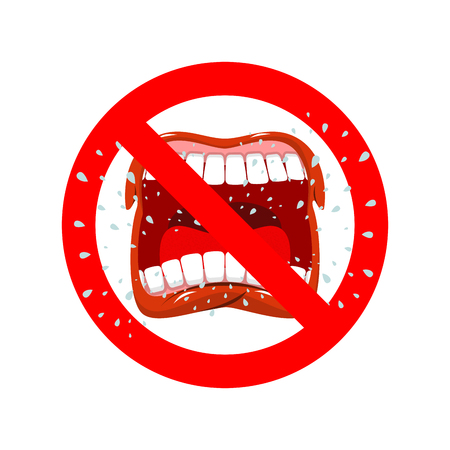 aggression: Stop screaming. It is forbidden to shout and swear. Crossed-open mouth. Emblem against aggression. Red prohibition sign. Ban profanity Illustration