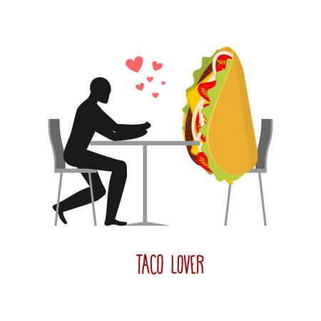 romantic date: Lover taco. Lovers in cafe. Man and fastfood sitting at table. Mexican food in restaurant. Romantic date in public place.