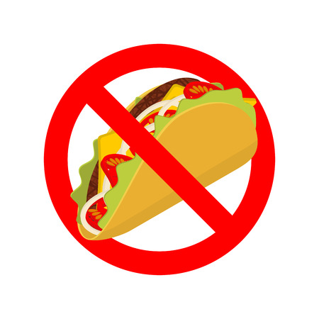 acute: Ban taco. Prohibited acute Mexican food. Crossed-out fast food. Emblem against. Red prohibition sign. Stop tortilla chips