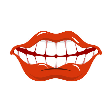 open mouth: Cheerful smile. Red lips and white teeth. Open mouth