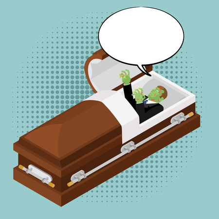 Zombies in coffin in pop art style. Green dead man in wooden shell and bubble for text. Corpse in open casket for burial. Deceased with cadaveric spots