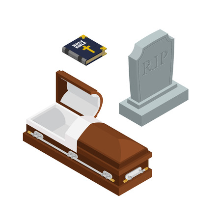 burial: burial set. Open wood coffin with dead. Holy Bible. Tombstone and grave